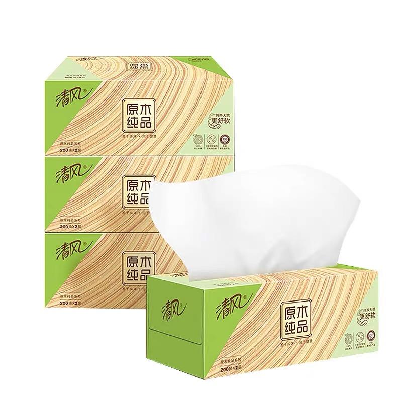 清风 盒抽纸B338C1/B338C2 2层200抽 36盒/箱